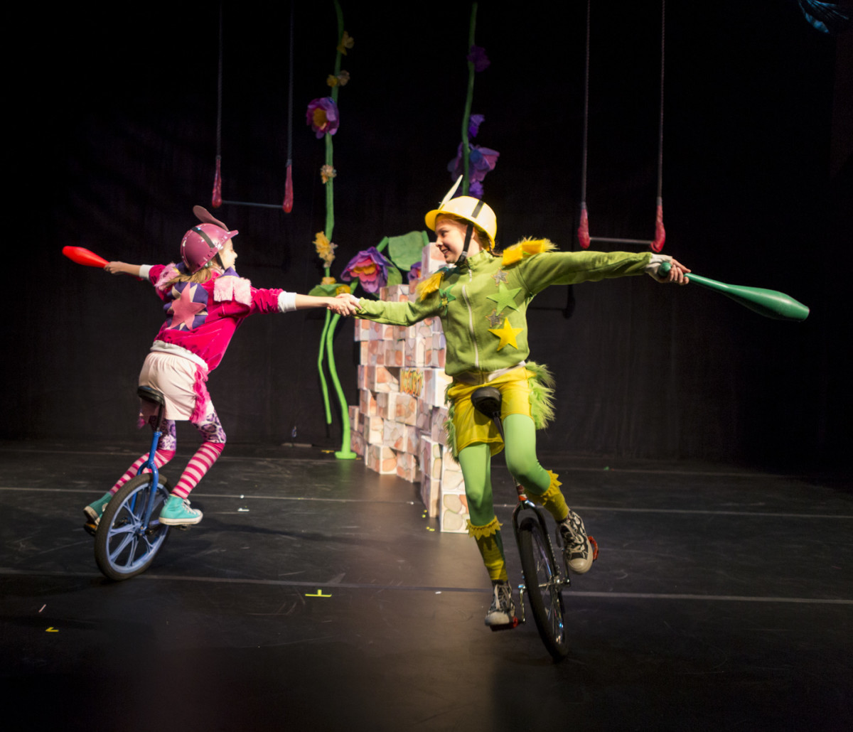 Youth unicyclists as border patrol in CircAspire.