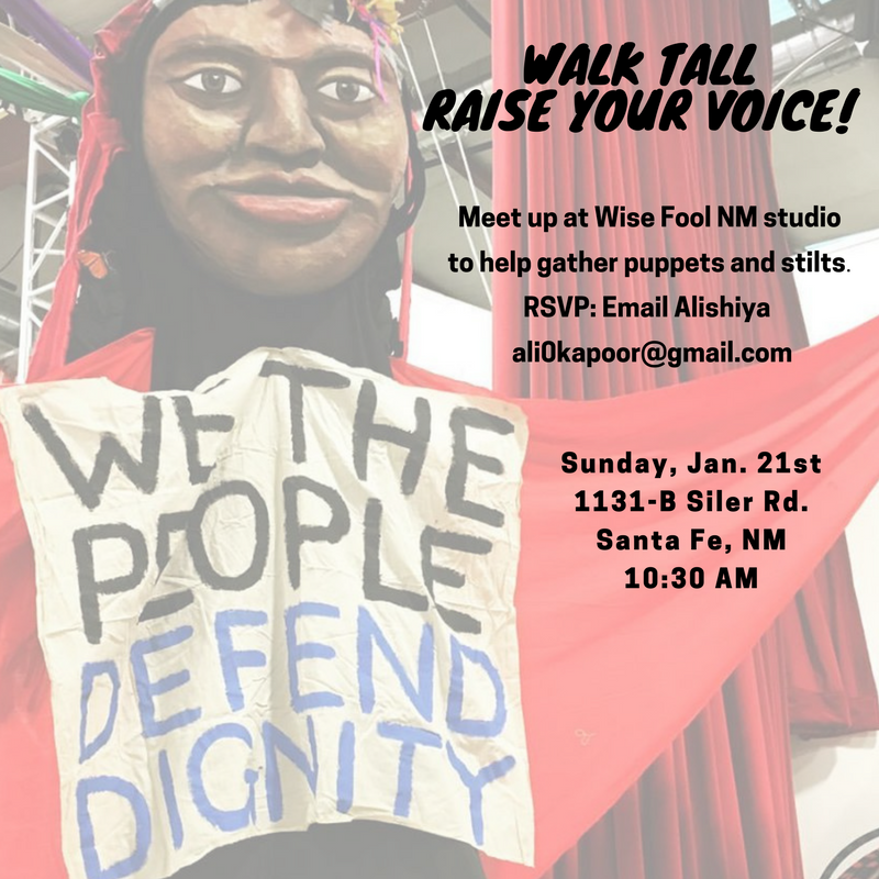 Carry a puppet or walk tall on stilts at Santa Fe Women's March!
